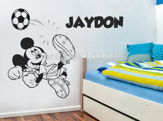 Diy Custom Boy Name Mickey Mouse Football Wall Stickers Nursery Soccer Vinyl Decal Art
