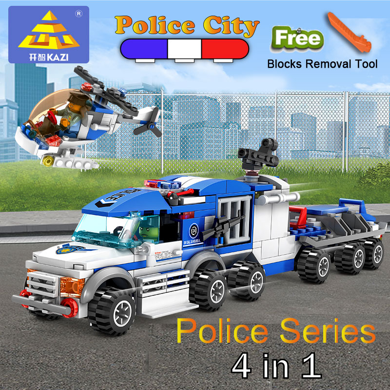 KAZI 4 in 1 police Helicopter car Modle Building Blocks ABS Bricks Set Educational Toys For Children Compatible Legoe City building blocks compatible police station truck city plane 536pcs helicopter speedboat educational diy bricks toys children lepi