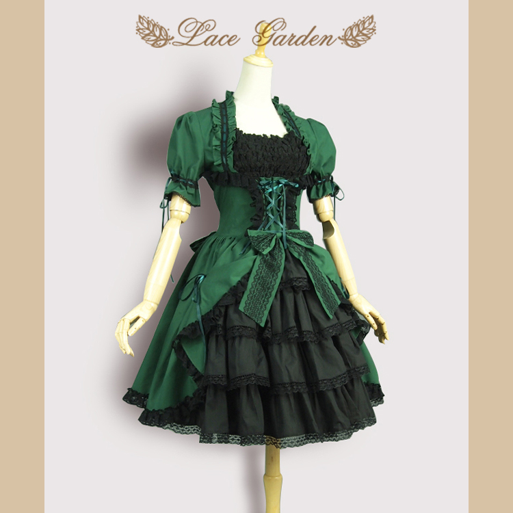 Victoria Style Olive Green Short Vintage Dress Detachable Long Flare Sleeve Lolita Dress with Layered Ruffles