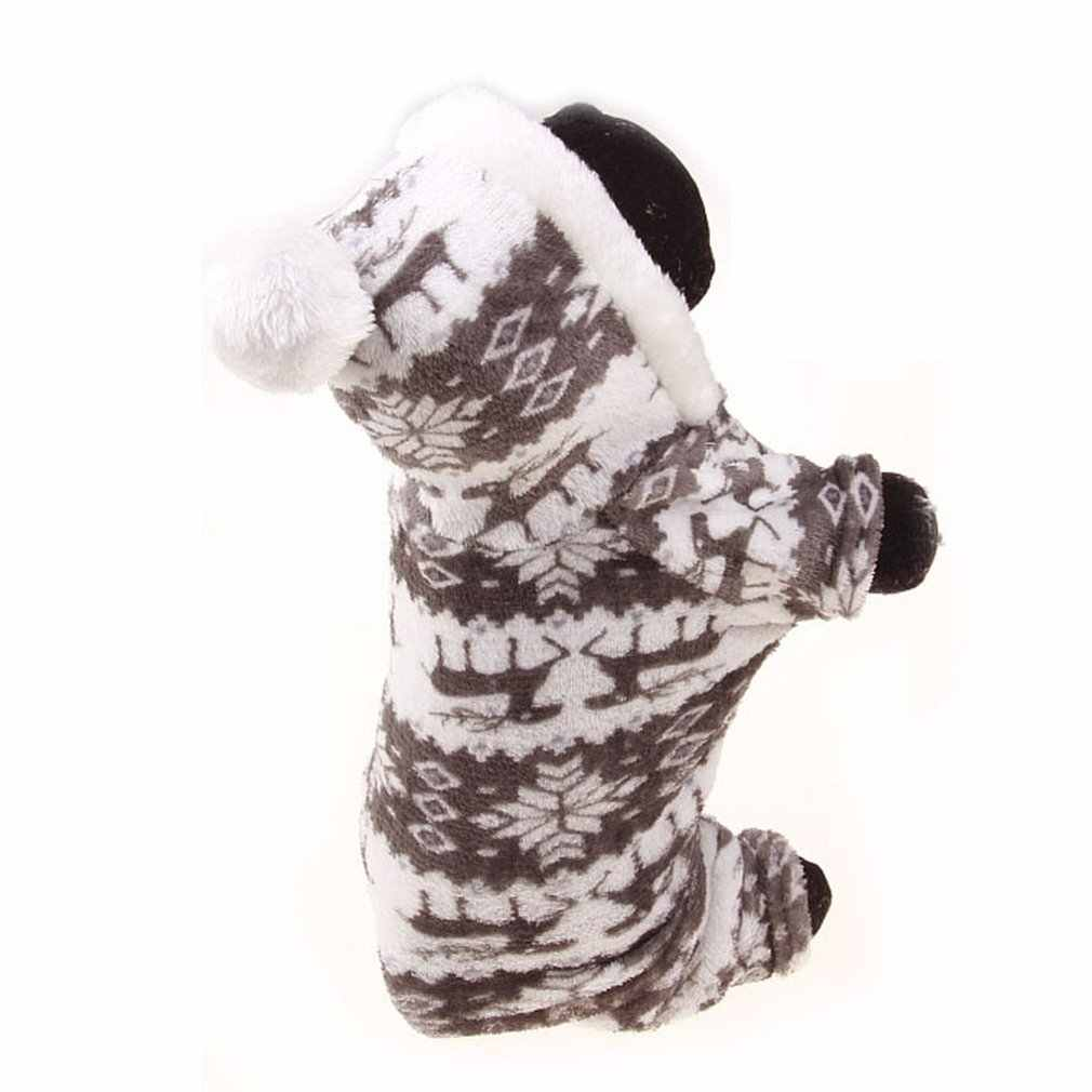 4 サイズかわいい漫画ペットトナカイ子犬服ソフトサンゴのベルベットのフリース冬暖かいセーター衣装アパレル