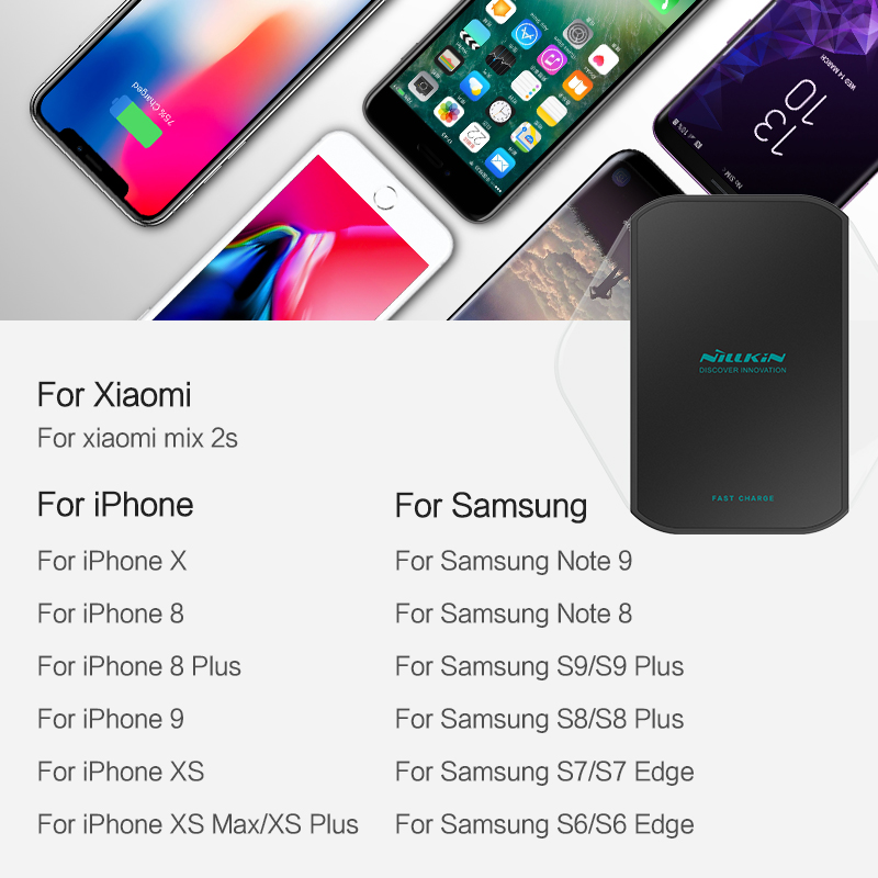 Nillkin wireless charger for iPhone XS/XR/XS Max/X/8/8 Plus for Samsung Galaxy S9/Note 8/S8 for xiaomi qi wireless charger pad