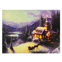 New LED Light Up Christmas Pattern Snow Night Canvas Pictures Painting Home Room Hotel Bar Wall