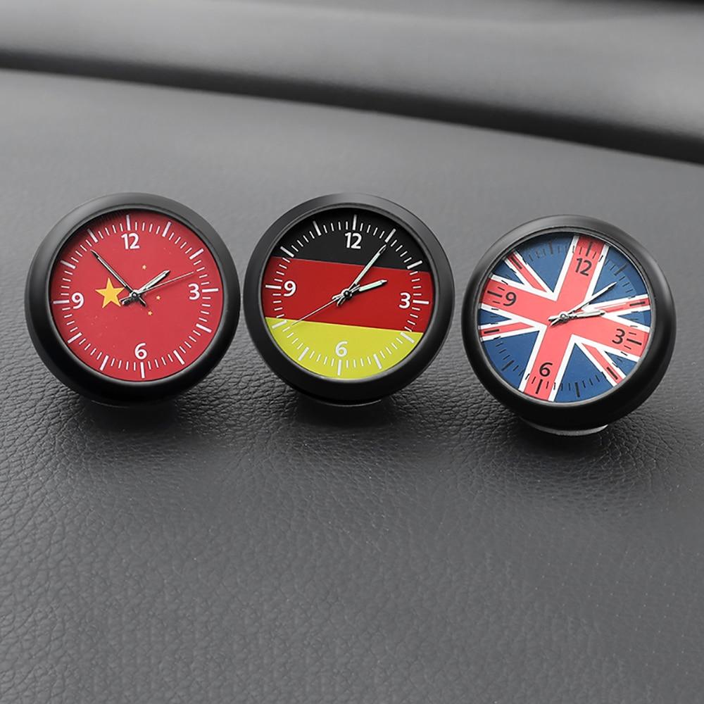 Luminous Car Digital Clock Ornaments German British Flag Auto Quartz Watch Automobiles Interior Dashboard Clock Decoration Gifts