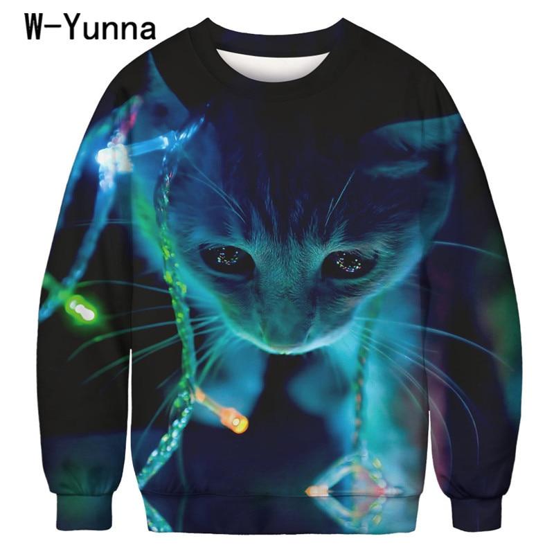 W-Yunna Harajuku 3d Print Sweatshirts Frauen Lose Sport Sudaderas für Frauen Voll Ärmeln Gothic Freizeit Sweatshirt