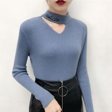New Womens Sweater Spring and Summer 2019 Fashion Half Turtleneck Full Sleeve Letter Knitted Slim