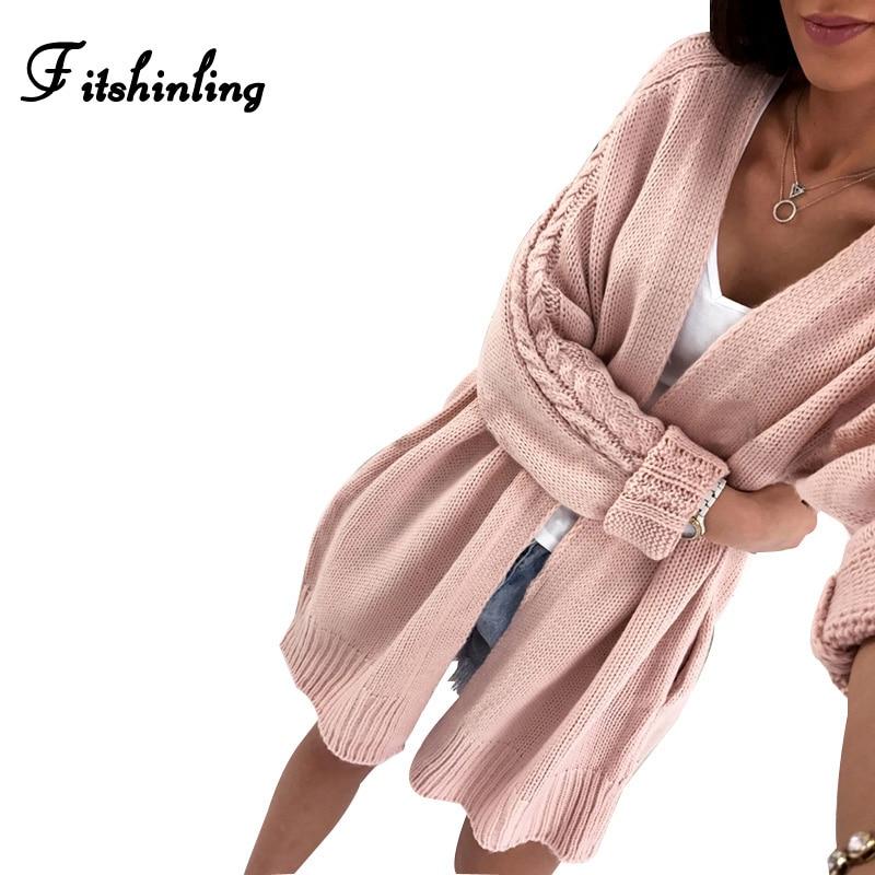 Fitshinling New Arrival Sweaters Cardigans For Women Twist Pink Long Jacket Female Knitwear Long Sleeve Knitted Cardigan Sale