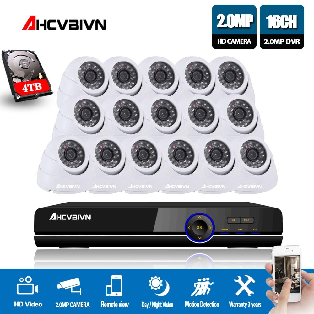 AHCVBIVN 16CH CCTV System Kit AHD DVR Dome indoor 2.0mp hd Kameras mit IR CUT Home Surveillance System 16 Kanal DVR Kit
