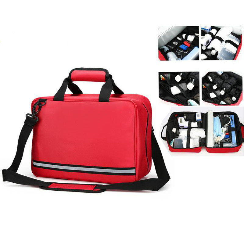 Outdoor First Aid Kit Outdoor Sports Red Nylon Waterproof Cross Messenger Bag Family Travel Emergency Medical Bag DJJB019