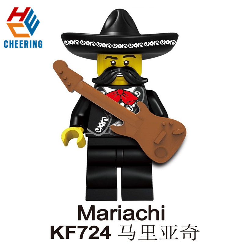 KF724 Single Sale Building Blocks Mexican Independence Day Charro Mariachi Action Figures Bricks Collection For Children Toys