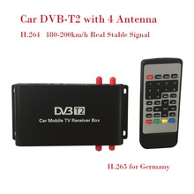 180-200km/h DVB-T2 Car 4 Antenna DVB T2 Car Digital TV Tuner HD 1080P TV Receiver BOX DVBT2 H.264 H.265