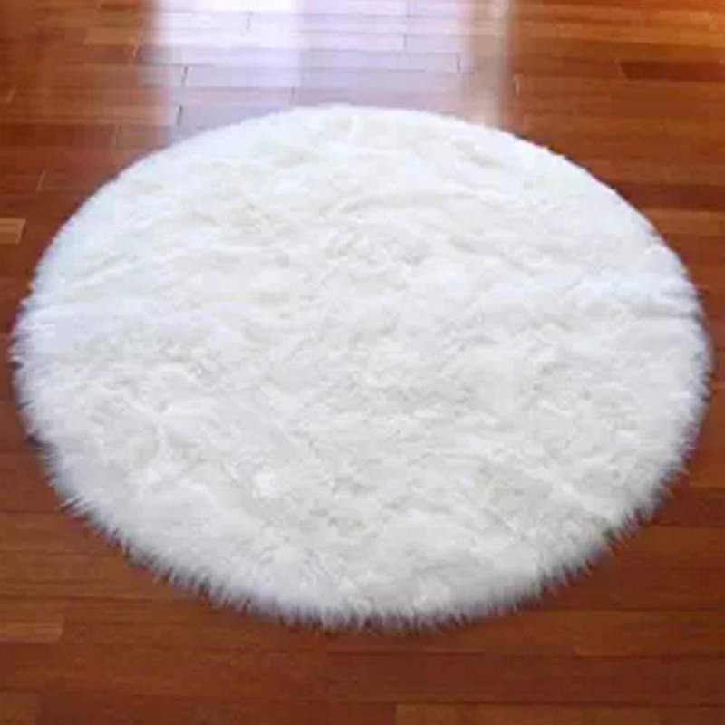 Round Real White Faux Sheepskin Rug Fur Blanket Decorative Blankets Rugs  And Carpets For Living Room Carpet Throw Floor Mat In Carpet From Home U0026  Garden On ...