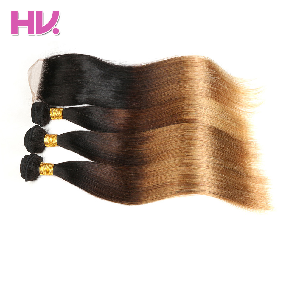 Ombre Indian Straight Hair Bundles With 4*4 Swiss Lace Closure #1B/4/27 Hair Villa Pre-Colored Non Remy Human Hair With Closure