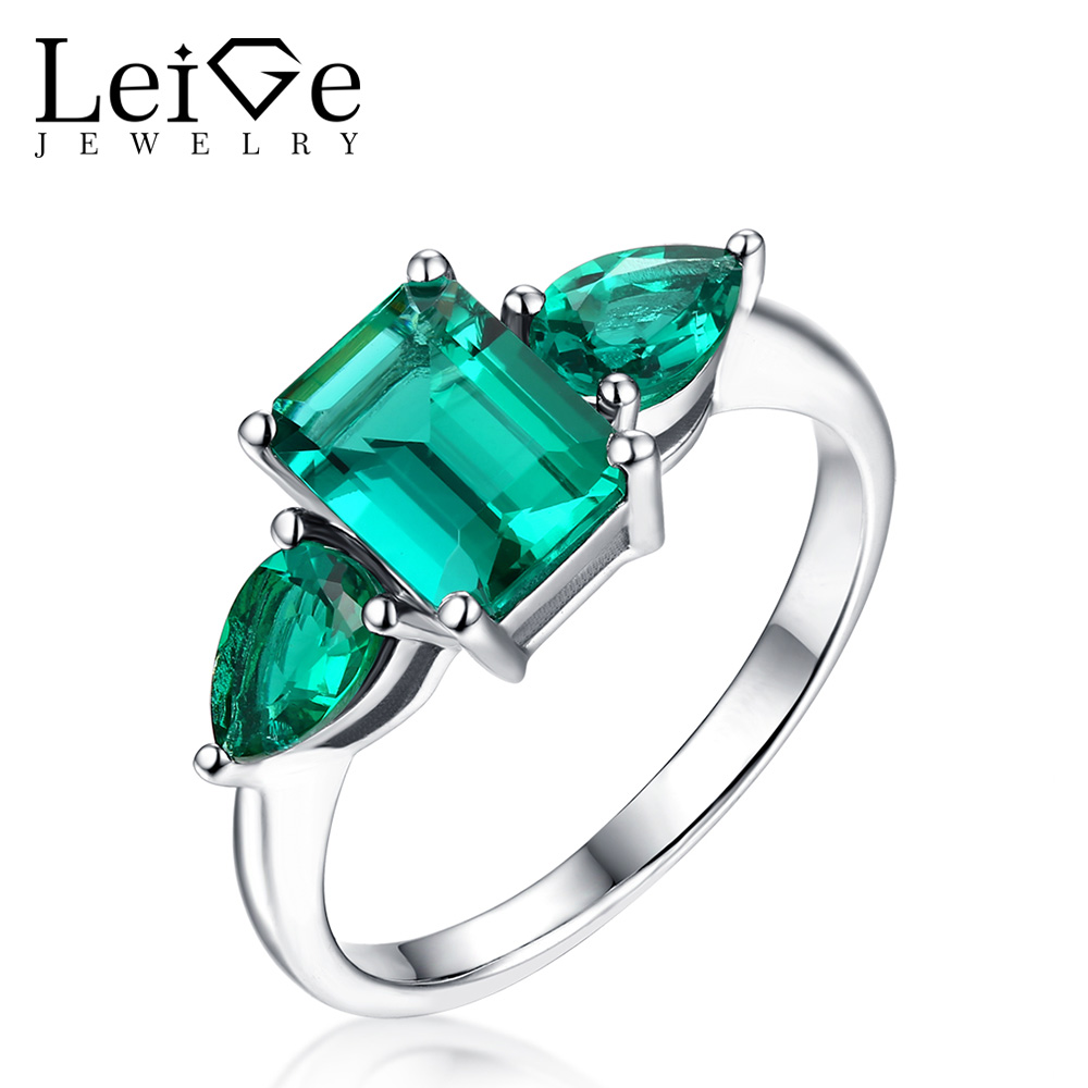 Leige Jewelry Emerald Cut Classic Green Emerald Rings Sterling Silver 925 Wedding Rings for Women Anniversary Christmas GiftLeige Jewelry Emerald Cut Classic Green Emerald Rings Sterling Silver 925 Wedding Rings for Women Anniversary Christmas Gift