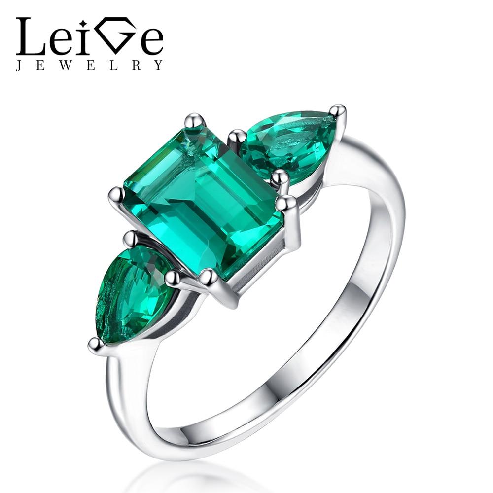 Leige bijoux taille émeraude classique vert émeraude anneaux en argent Sterling 925 anneaux de mariage pour les femmes anniversaire cadeau de noël