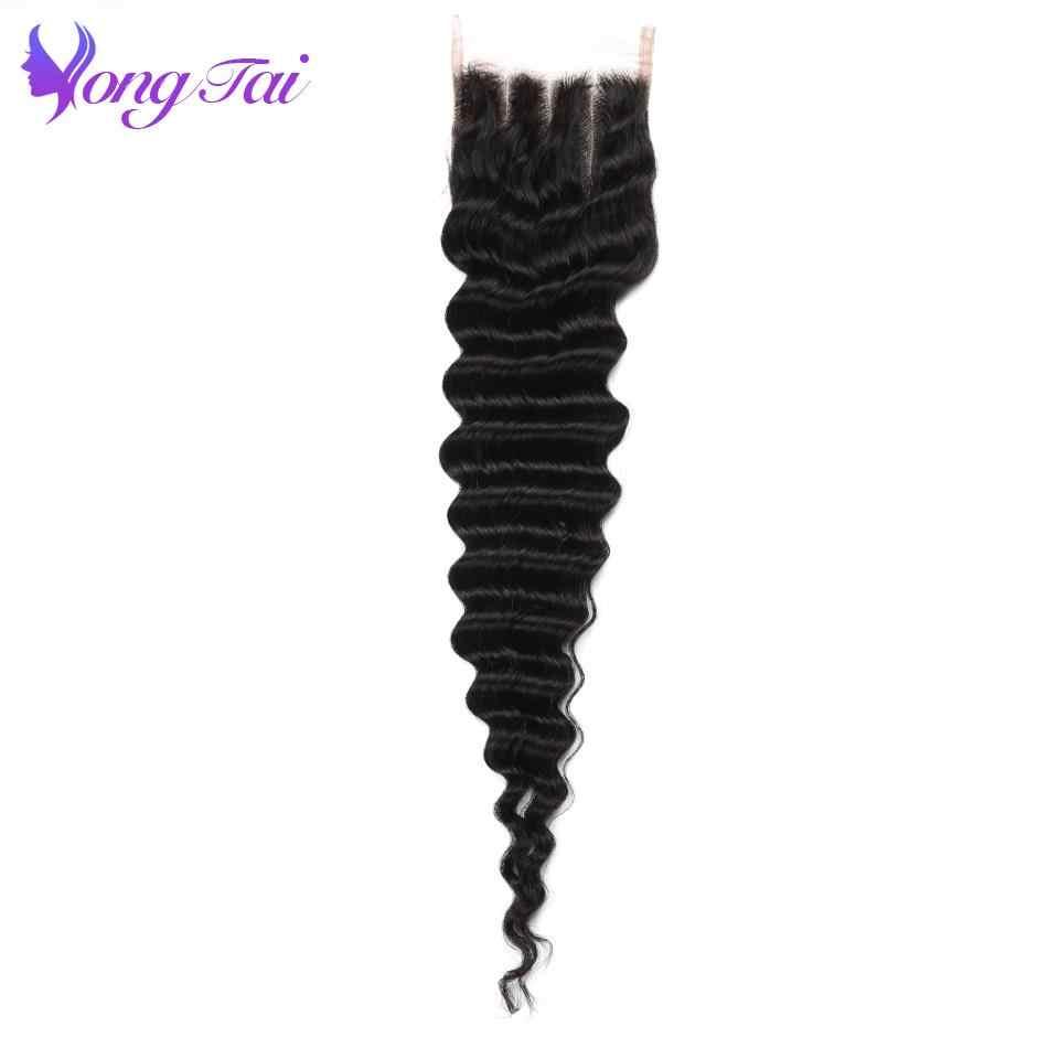 Hint derin dalga Dantel Kapatma 4x4 Yongtai Saç Demetleri Olmayan Remy % 100% Insan Saçı Kapatma Makinesi Çift Atkı ücretsiz Kargo