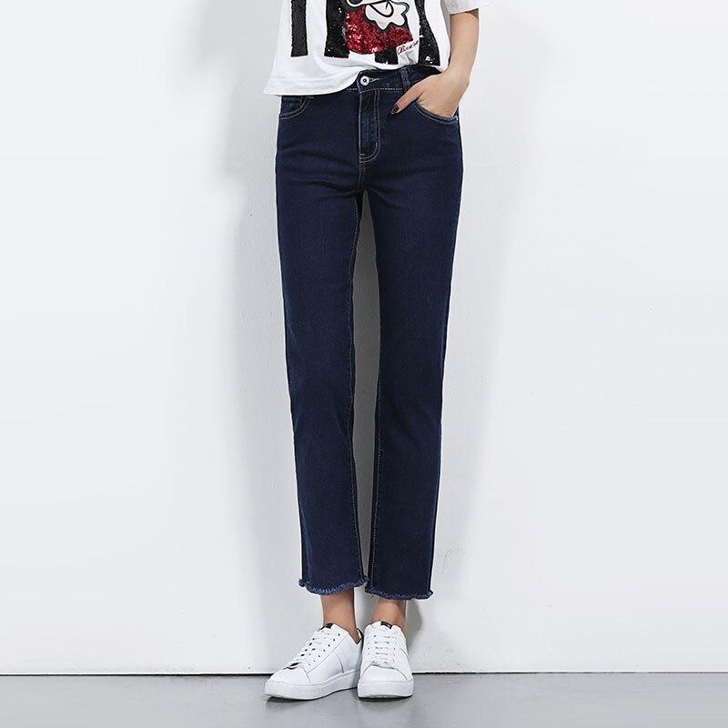 5622 Plus size women straight jeans ankle length pants female slim tassel trousers jeans black blue denim jean femme XXXXXL 6XL rosicil new women jeans low waist stretch ankle length slim pencil pants fashion female jeans plus size jeans femme 2017 tsl049