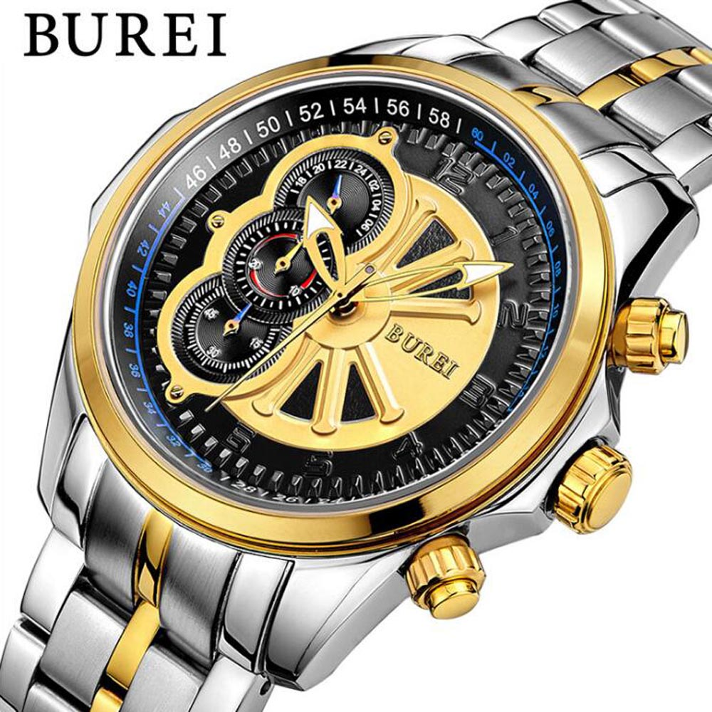BUREI Fashion Mens Watches Top Brand Luxury Casual Charm Luminous Sport multi-function Mens Quartz Wrist watch Waterproof Clock 100