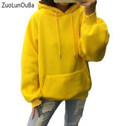 Zuolunouba/2018 Зимние Повседневные Флисовые женские толстовки с капюшоном, свитшоты с длинным рукавом, желтые пуловеры для девочек, свободные
