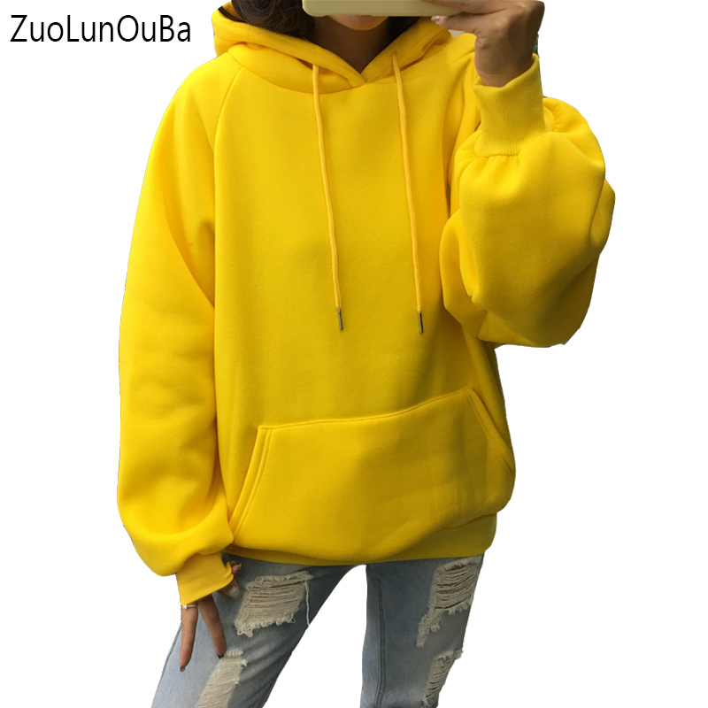 Zuolunouba 2018 Winter Casual Fleece Women Hoodies Sweatshirts Long Sleeve Yellow Girl Pullovers Loose Hooded Female Thick Coat