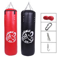 60cm 120cm PU Leather Punching Bag Empty Kick Sandbag Fitness MMA Boxing Muay Thai Boxer Training Set with Hand Wraps & Chain