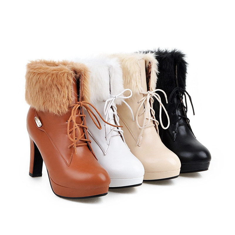 blanc Femme Beige Arrivent Cheville Mode Pour Femmes Talons Feiyitu marron Bottes 2018 D'hiver forme DentelleUp Plate Nouveau noir Chaussures Hauts cRLqj5S34A