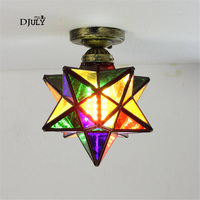 art deco Tiffany star ceiling lamp for Corridor kitchen creative living room lights dining room bar stained glass ceiling lamp
