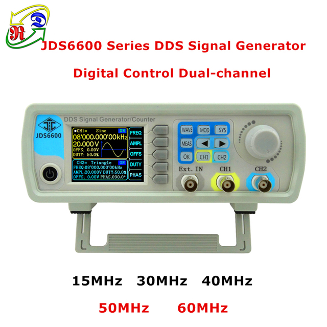 RD JDS6600 Series MAX 60MHz Digital Control Dual-channel DDS  Function Signal Generator frequency meter Arbitrary sine Waveform