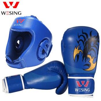 039f4bf20 Capacete De Boxe com Luvas de Boxe Wesing 10 oz Muay Thai Kickboxing  Equipamento de Treinamento MMA Headguard Proteção Tamanho Grande