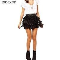 Summer Skirts Women A Line Fringe 2016 Maxi Skirt Tassel Black PU Leather Woman High Waist