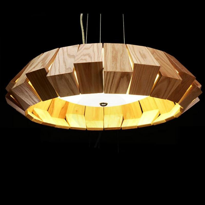 Post-modern Designer Wood Glass Round Pendant Light For Dining Room Living Room Bar Creative Nordic Led Ash Wood Lamp 38/50/65cm цена