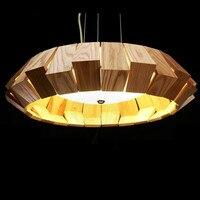 Post modern Designer Wood Glass Round Pendant Light For Dining Room Living Room Bar Creative Nordic Led Ash Wood Lamp 38/50/65cm