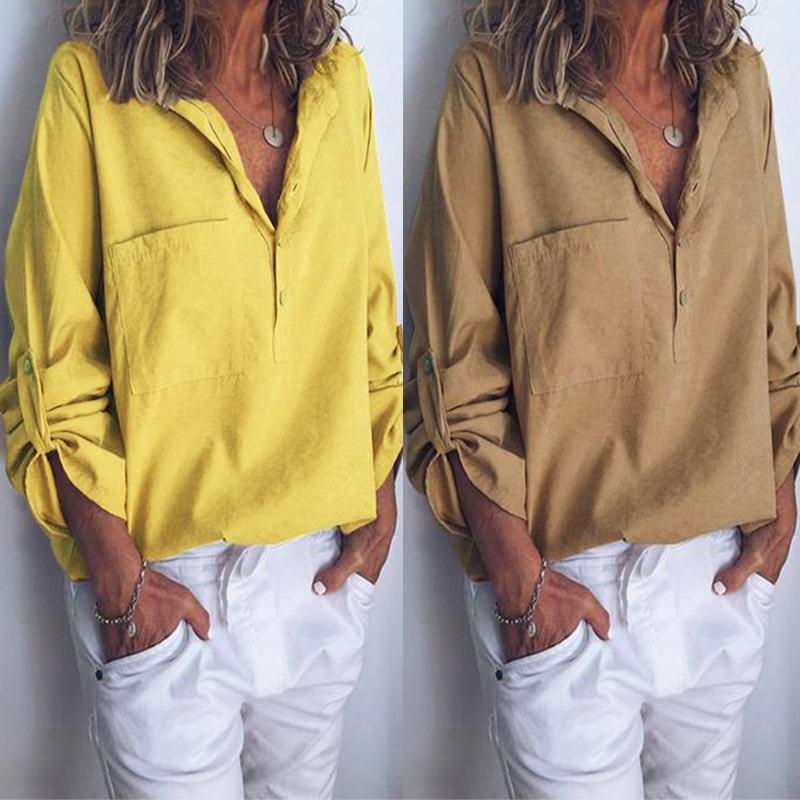 ZANZEA Women's Blouse Solid Color Shirt 2019 Fashion Summer Ladies Long Sleeve Blusas Cotton Linen Tunic Tops Plus Size Blouses