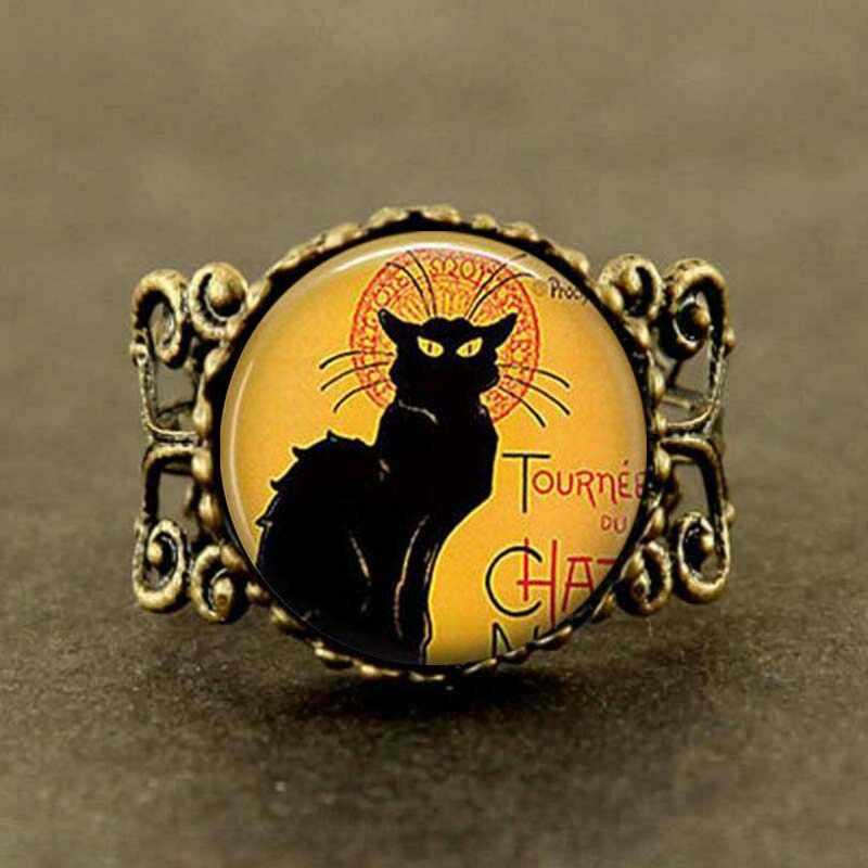 בציר Le Chat Noir אמנות טבעת שחור חתול ארוך תכשיטי steampunk גברים שרשרת נשים קסמי חמוד טבעת