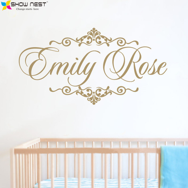 Personalized baby name wall decal vinyl sticker home decor children nursery bedroom wall mural design