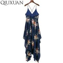 High Quality V Neck Backless Beach Asymmetrical Dress Floral Print Women Fashion Summer High Waist Dresses