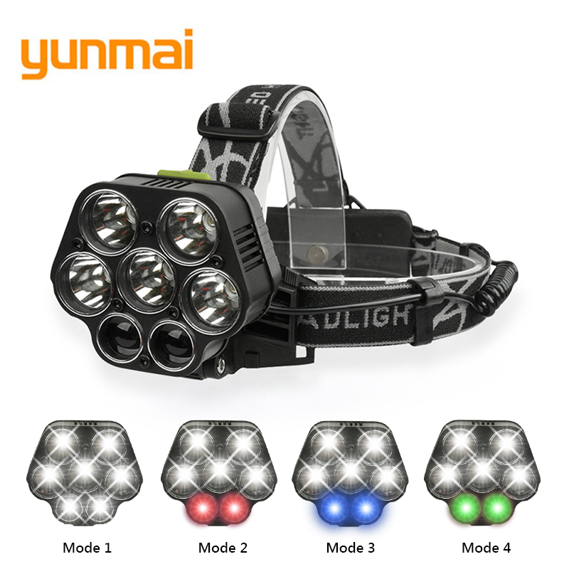 USB Rechargeable CREE XML-5*T6 7 LED Headlamp Head Lamp 40000 lumens LED Flashlight White red green blue Head Light By 2*18650 8000lm usb rechargeable head lamp torch xml t6 cob led white red light headlamp frontal led running headlight usb cable by 18650