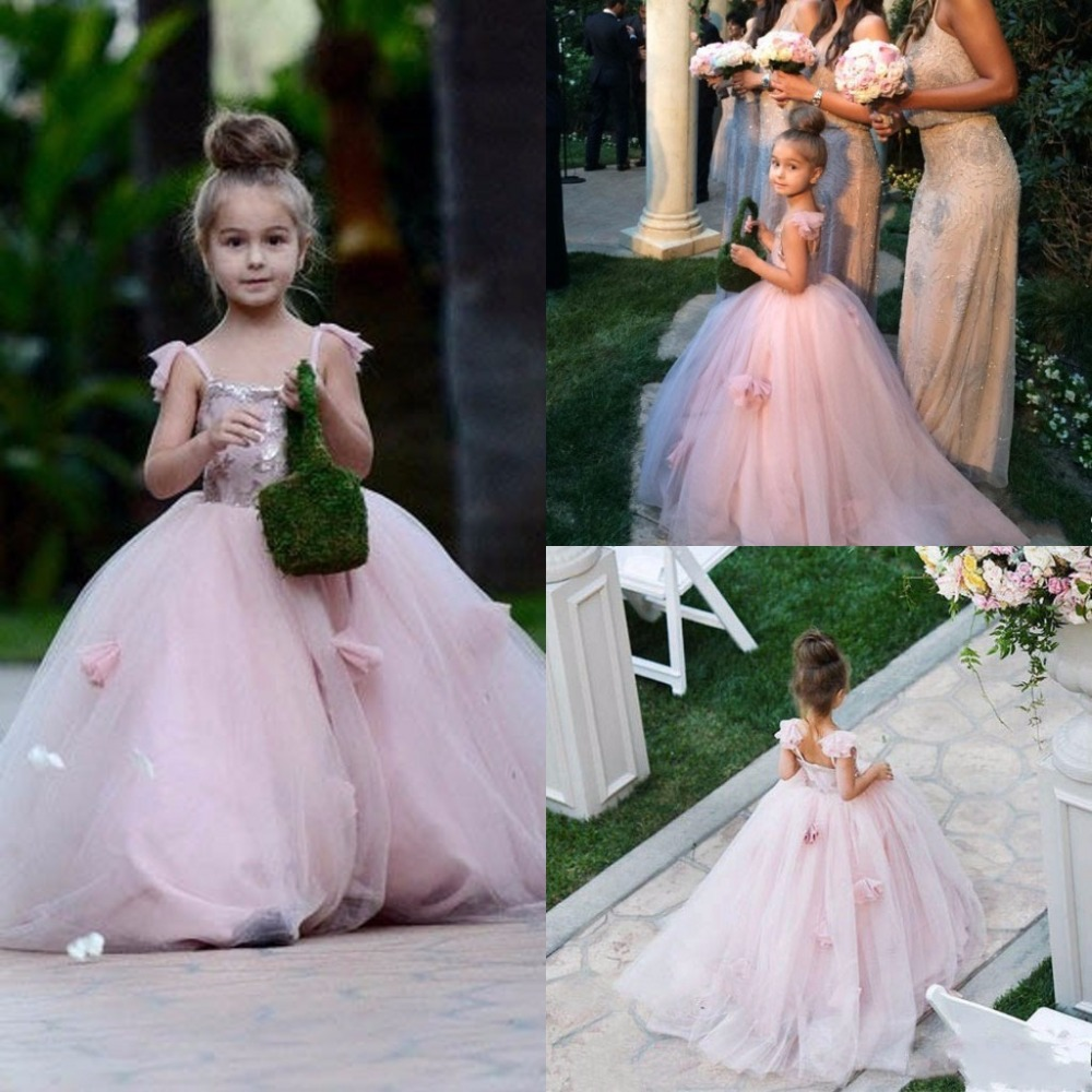 Pink 2019   Flower     Girl     Dresses   For Weddings Ball Gown Spaghetti Straps Tulle Long First Communion   Dresses   For Little   Girls