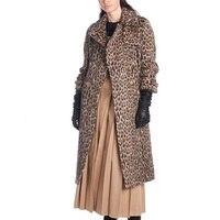 Cosmicchic взлетно посадочной полосы зимнее длинное пальто дизайнеры 2018 Leopard Альпака волокна нагрудные карман Верхняя одежда