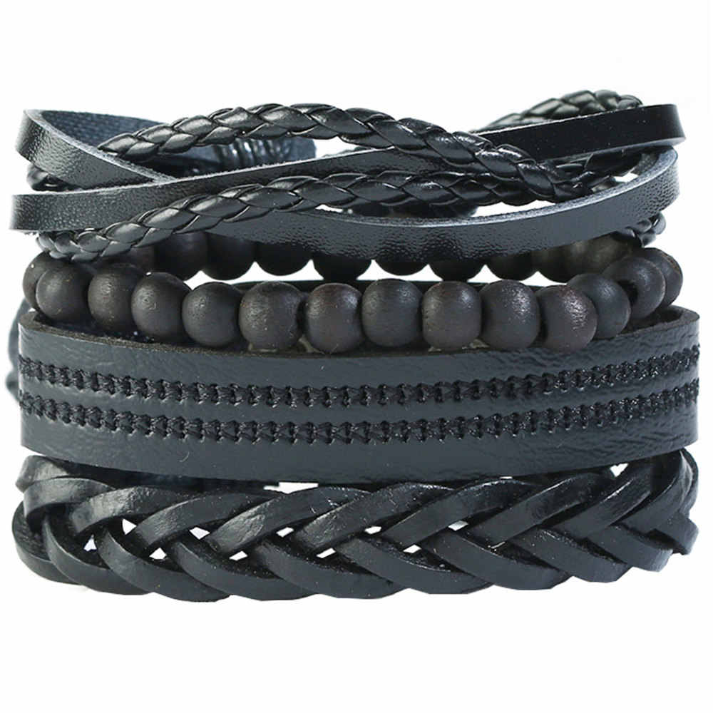 f38ce1ed1744 ... New Causul 4pcs set Handmade Beads Rope Woven Men Multilayer Charm  Leather Bracelets For Women