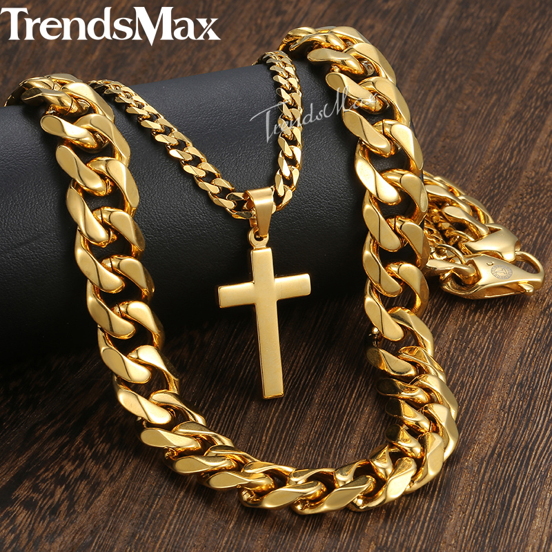 New Men's Hip Hop Necklace Gold Stainless Steel Curb Cuban Link Chain Cross Pendant Necklace for Men Jewelry 14mm 24inch DN07 8mm 10mm 12mm 14mm stainless steel curb cuban link chain hip hop punk heavy gold silver plated cuban necklace for men