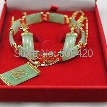 jewe AAA Новое желтое золото зеленый нефрит новое ожерелье браслет серьги