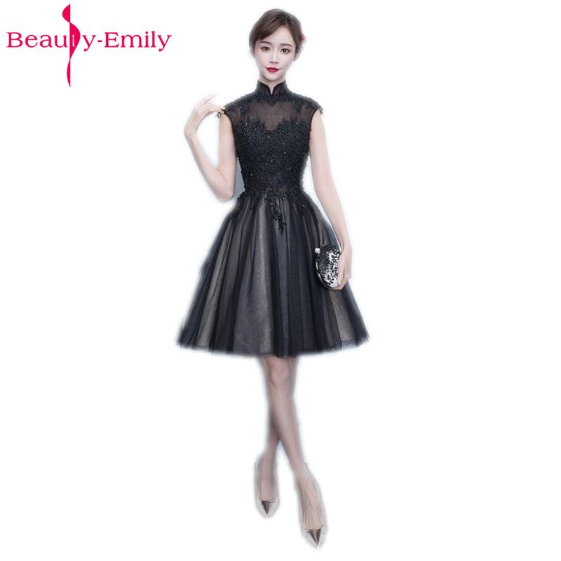 Beauty Emily Black A Line Short Sexy Party Prom Dresses 2017 Evening
