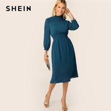 SHEIN Classy Blue Frill Neck Shirred Yoke and Waist Midi Dress Women Spring Autumn 2019 Keyhole Back Office Lady Elegant Dresses