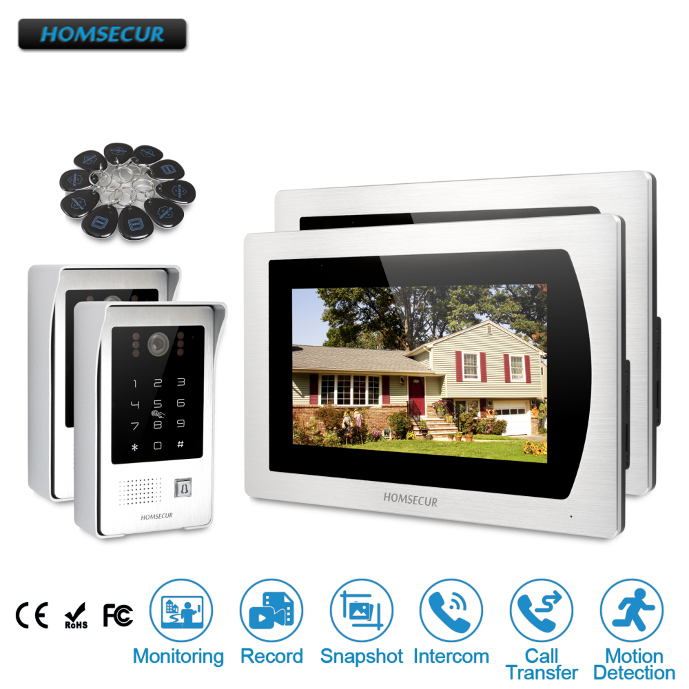 """HOMSECUR 7"""" Wired Video Door Phone Intercom System with Password Access with Russia Menu available  BM717-S + BC091"""