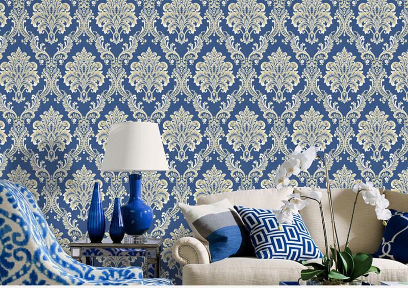 10MX53CM Blue 3D Embossed Floral Damask Wallpaper Flocked Non-woven Wall Paper for Bedroom Living Room Background Wallcovering luxury classic wall paper home decor background wall damask wallpaper pink floral wallcovering 3d embossed wallpaper living room