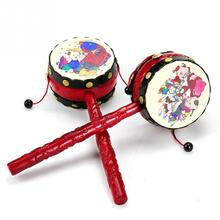 Baby Kids Cartoon Plastic Chinese Traditional Rattle Drum Spin fun toys Hand Bell Music Toys