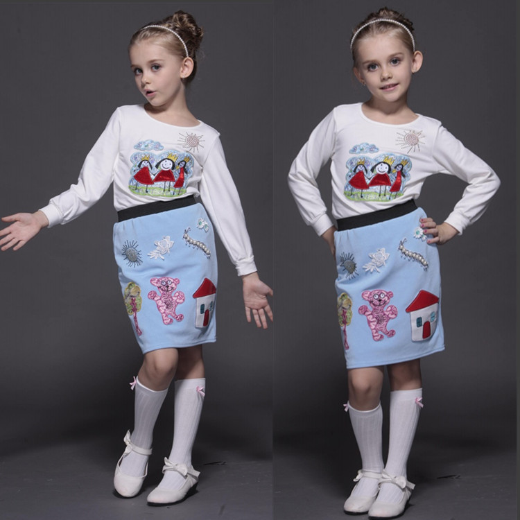 Foreign Trade Single Autumn And Winter Girls Suit Pure Cotton T-Shirt Manual Pearl Embroidery Princess Full Dress