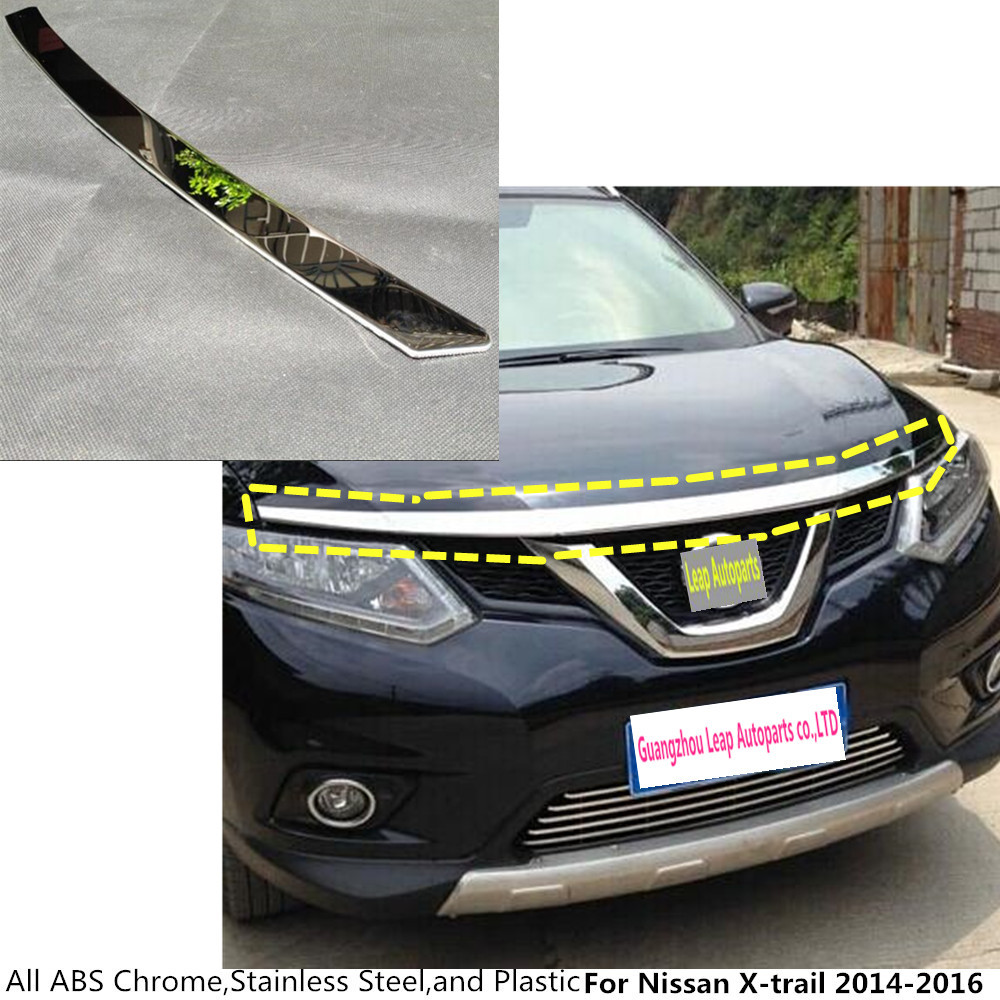 For Nissan X-trail xtrail T32/Rogue 2014 2015 2016 ABS chrome front engine Machine grille upper hood stick lid trim lamp 1 мягкая игрушка юху голубой