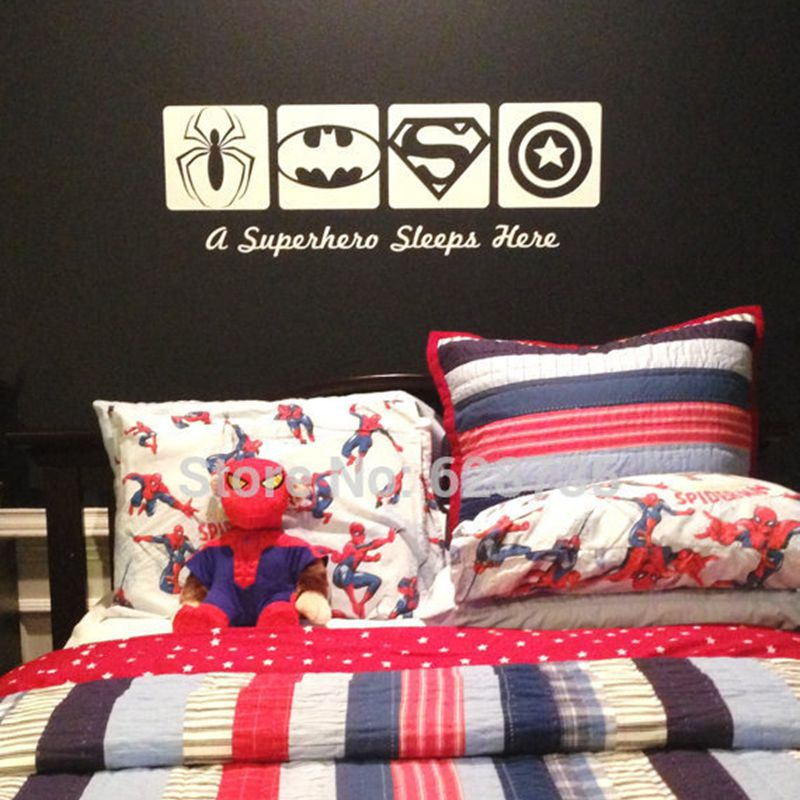 A Super Hero Sleeps Here Vinyl Wall Sticker Spiderman & Batman& ...