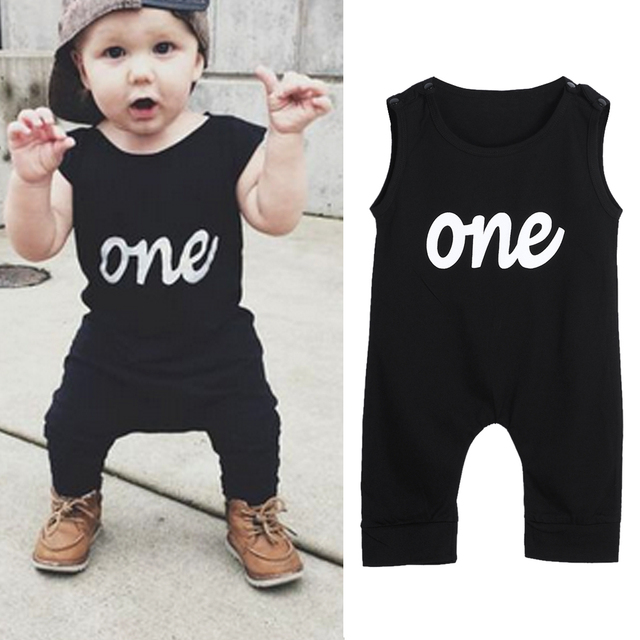 Summer Baby Infant Toddler Kids One Letter Print Black Baby Rompers